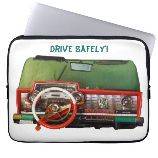 Drive Safely! Nostalgic Toy Dashboard Pic Computer Sleeve