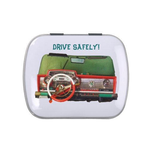 Drive Safely! Nostalgic Toy Dashboard Pic Jelly Belly Tin