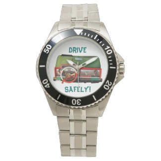 Drive Safely! Nostalgic Toy Dashboard Pic Watch