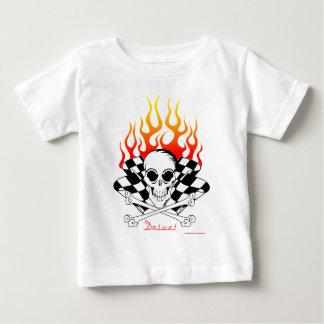 Drive! Skull, Crossed Bones, Racing Flags, Flames Baby T-Shirt