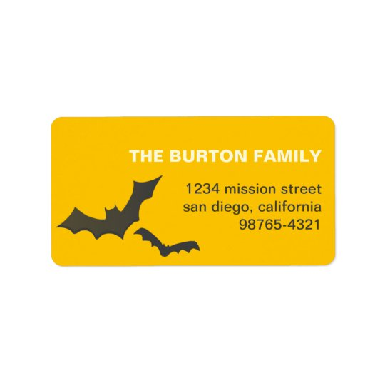 Drive you batty yellow custom Halloween address Label