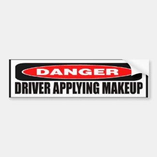 Driver Applying Makeup Bumper Sticker Car Bumper Sticker