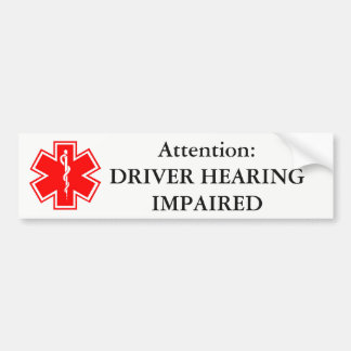 Driver Hearing Impaired Bumper Sticker