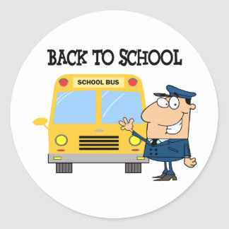 Driver In Front of School Bus Classic Round Sticker
