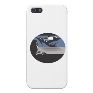 Driver Looking Mountain Pass Oval Woodcut iPhone 5/5S Cover
