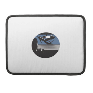 Driver Looking Mountain Pass Oval Woodcut Sleeve For MacBook Pro