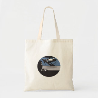 Driver Looking Mountain Pass Oval Woodcut Tote Bag