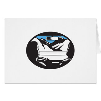 Driver Looking Up Mountain Car Windshield Oval Woo Card