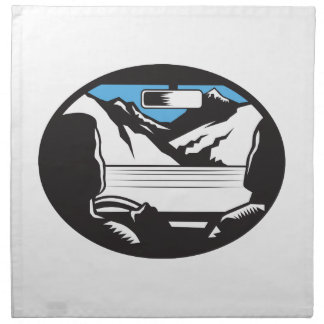 Driver Looking Up Mountain Car Windshield Oval Woo Napkin