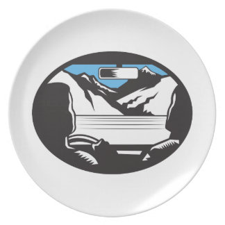 Driver Looking Up Mountain Car Windshield Oval Woo Plate