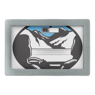 Driver Looking Up Mountain Car Windshield Oval Woo Rectangular Belt Buckles