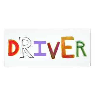 "Driver word art chauffeur designated sober 4"" x 9.25"" invitation card"