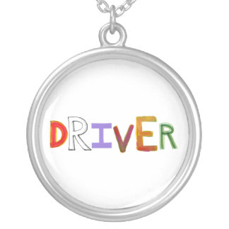 Driver word art chauffeur designated sober necklaces