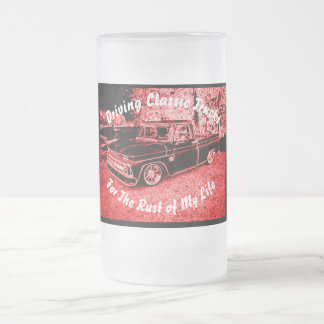 Driving Classic Trucks - Frosted Glass Beer Mug