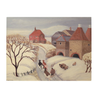 Driving Cows home in the Snow Wood Canvas