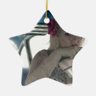 Driving Doris Ceramic Ornament