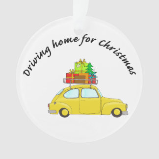 """""""Driving home for Christmas"""" car towing tree"""