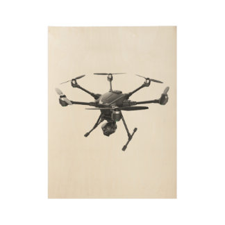 Drone Grey Wood Poster