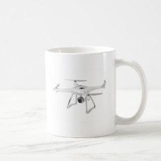Drone on white coffee mug