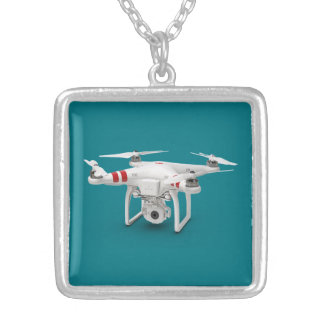 Drone phantom silver plated necklace