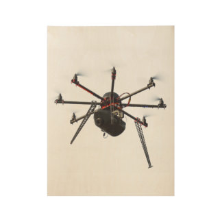 Drone quadcopter 2 wood poster