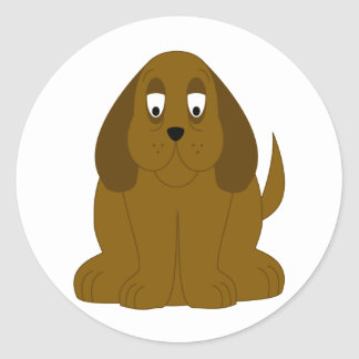 Droopy Brown Dog Round Stickers