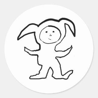 Droopy Ear Bunny Jammie Kid Round Sticker