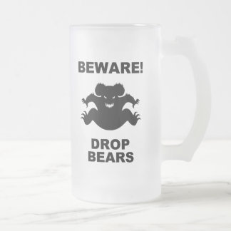 Drop Bears! 16 Oz Frosted Glass Beer Mug