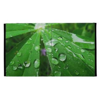 Droplets on Green Plant iPad Folio Covers