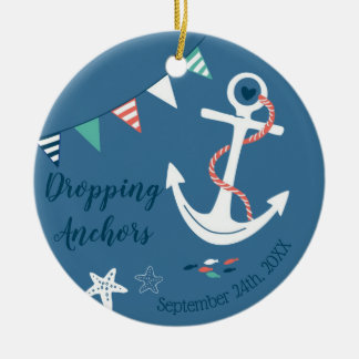 Dropping Anchors Nautical Adoption Gift Name-Date Ceramic Ornament