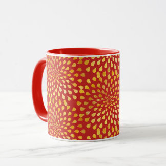 Drops of Gold Sparkles Pattern Mandala Mug