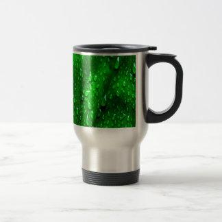 drops on green leaf coffee mug