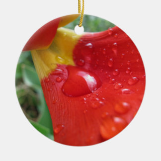 Drops on Red Tulip Petal Round Ceramic Decoration