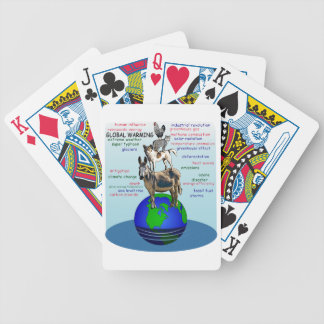 Drowning earth, sea level rise,global warming bicycle playing cards