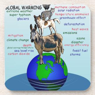 Drowning earth, sea level rise,global warming coaster