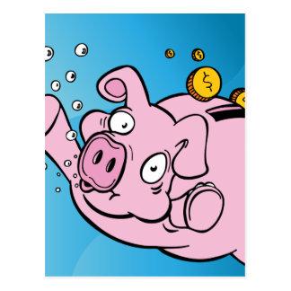 Drowning Piggy Bank Underwater Postcard