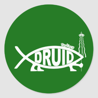 Druid Fish Classic Round Sticker