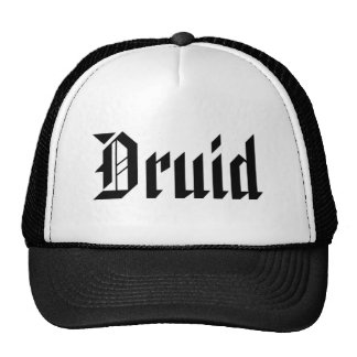 Druid. Nice Gothic Font. Black and White Cap