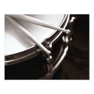 drum and drum sticks 11 cm x 14 cm invitation card