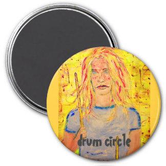 drum circle 7.5 cm round magnet