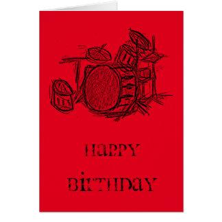Drum kit rock band grunge birthday card
