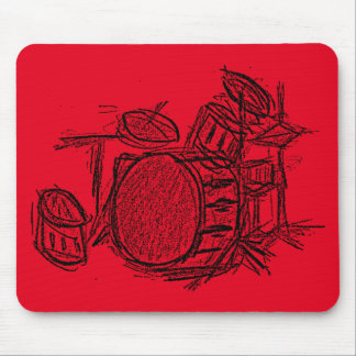 Drum kit rock band grunge mouse pad