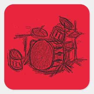 Drum kit rock band grunge square sticker
