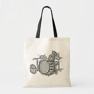 Drum kit rock band grunge tote bag