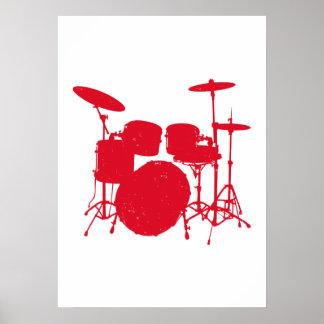 Drum Kit Silhouette Poster