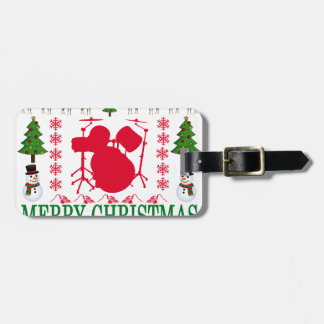 DRUM MERRY CHRISTMAS . LUGGAGE TAG