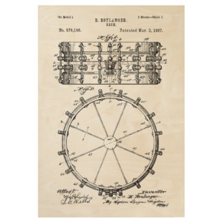 Drum Patent Invention Wood Poster