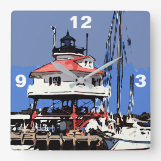 DRUM POINT LIGHT SQUARE WALL CLOCK
