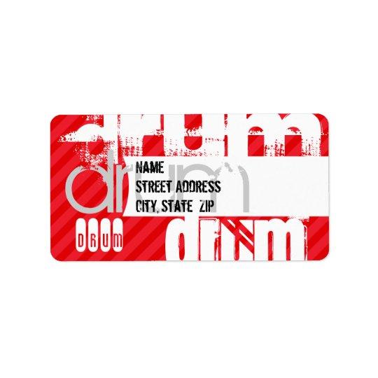 Drum; Scarlet Red Stripes Address Label