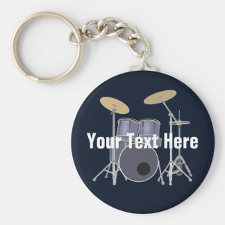 Drum Set Basic Round Button Key Ring